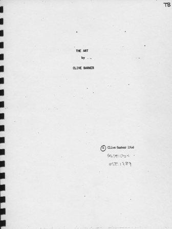 Clive Barker - The Art - manuscript proofs