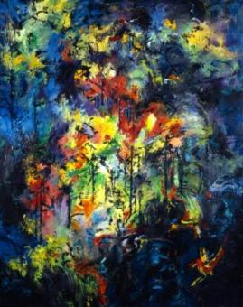 Forest With Bird by Clive Barker, oil on canvas
