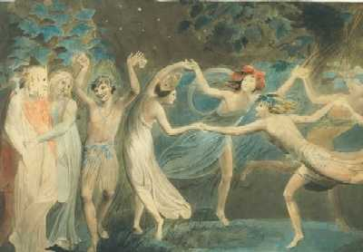 William Blake - Oberon, Titania and Puck with Fairies 