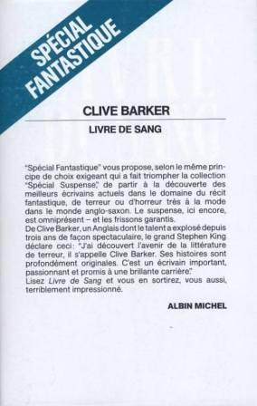 Clive Barker - Books of Blood - Volume One, in wrapper, France, 1987