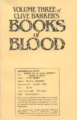Clive Barker - Books Of Blood 3, Berkley 1986 proof