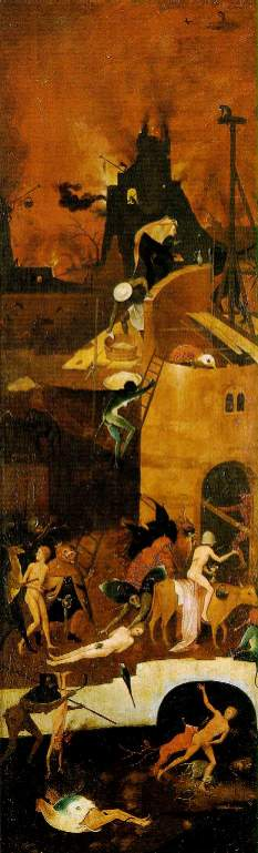 Hieronymous Bosch - Haywain - Right wing, 'Hell' c. 1485-90