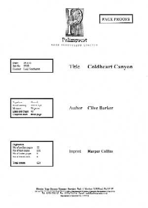 Clive Barker - Coldheart Canyon - UK Page Proofs