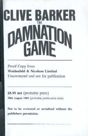 Clive Barker - Damnation Game - UK Proof