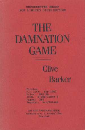 Clive Barker - Damnation Game - US Proof
