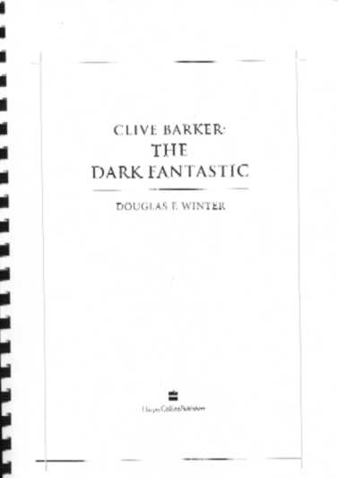 Clive Barker : The Dark Fantastic - UK page proofs
