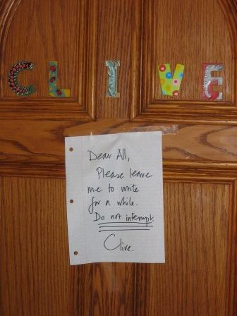 The door to Clive's writing study, August 2009