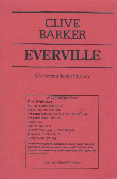 Clive Barker - Everville - US Proof