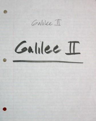 Title page to Clive's notes for Galilee 2