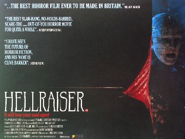 Hellraiser UK Theatrical Quad Poster, 1987