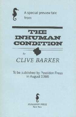 Clive Barker - The Inhuman Condition, Poseidon, 1986 proof