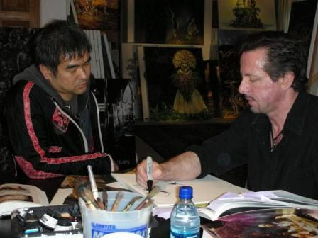 Ryuhei Kitamura works on designs with Clive Barker, 30 January 2007.