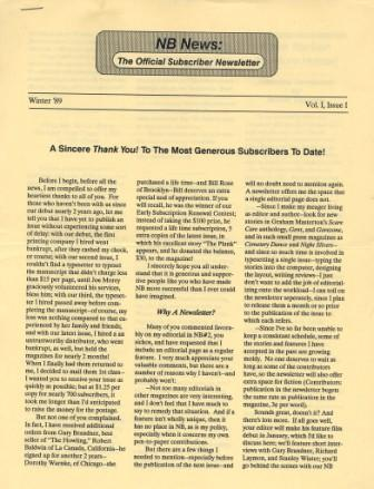 NB News, Vol 1 Issue 1, Winter 1989