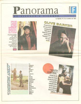La Opinion, Panorama section, 23 October 1992