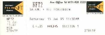 Ticket from rare theatrical showing, London 15 July 1995