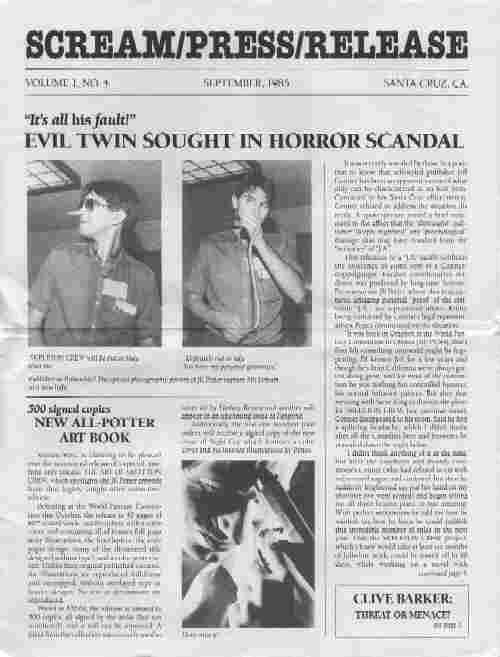 Scream/Press/Release, Vol 1 No 4, September 1985
