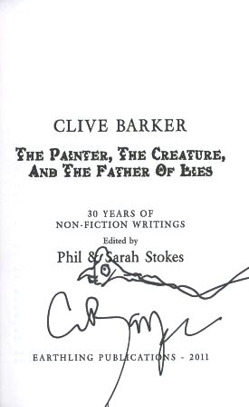 Clive Barker - The Painter, The Creature And The Father Of Lies, US