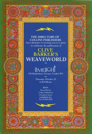 Invitation to Weaveworld's 22 October 1987 launch party